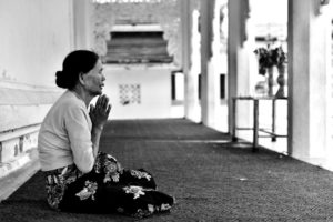 Praying At One Of Bagan Temples
