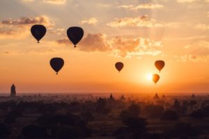 Hot Air Balloons, Bagan Sunset